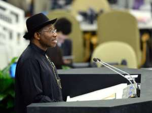 Goodluck Ebele Jonathan, President of Nigeria, speaks at the United Nations General Assembly on September 24, 2013 in New York.  By Stan Honda (AFP/File)