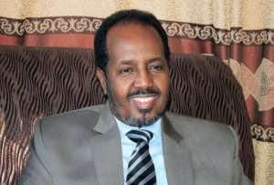 President Hassan Sheikh Mohamud during an interview with AFP at Mogadishu's Presidential Palace on February 26, 2013.  By Abdurashid Abdulle Abikar (AFP/File)