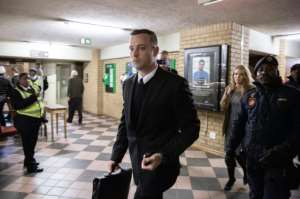 South African Paralympian Oscar Pistorius arrives at the Pretoria High Court on June 14, 2016 on the second day of his sentencing hearing.  By Gianluigi Guercia (AFP)