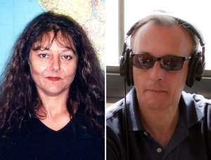 These photos released on November 2, 2013 by Radio France Internationale (RFI) show journalists Ghislaine Dupont (L) and Claude Verlon.  By  (RFI/AFP)