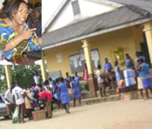 INSET: Mrs. Betty Mould-Iddrisu, Minister of Education, Students returning to campus from midterm holidays when The Chronicle visited the school on Tuesday