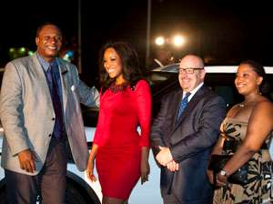 Mr Paul K Pepera poses with Jocelyn Dumas( face of the new Rover Evoque) and some dignitaries at the launching)