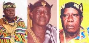 Otumfuo Osei Tutu II, Asantehene(left), The late Odeneho Oduro Numapau, Essumejahene(middle), Barima Offe Kwasi Okogyeasuo, Kokofuhene (right)
