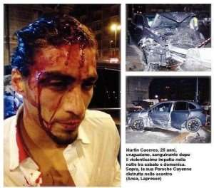 Image of the day : The Uruguayan Caceres bleeding after a car accident