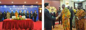 Togbe Afede and Hon Amenewode with Chinese Government officials(left), Togbe Afede and Mr. Amenewode greeting the governor of Ningxia Autonomous Region(right)