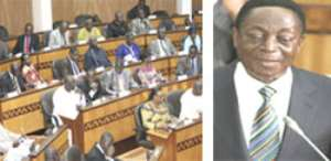 The Majority Bench in Parliament(left), Dr. Kwabena Duffuor, Minister of Finance and Economic Planning, presenting the Budget Statement for 2012 on the floor of Parliament(right)