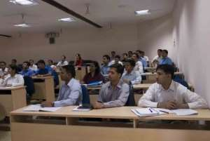 A different kind of training. Ex-defense officers attending a management lecture at XLRI Jamshedpur.