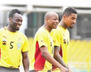 Kevin-Prince Boateng (right) and Michael Essien (left) in the camp of Black Stars.