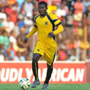 Abubakar Mumuni of Black Leopards during the PSL promotion play-off match between Black Leopards and Jomo Cosmos at the Thohoyandou Stadium in Limpopo, South Africa on May 17, 2015 ©Samuel Shivambu/BackpagePix