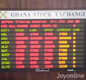 An electronic board at the Ghana Stock Exchange