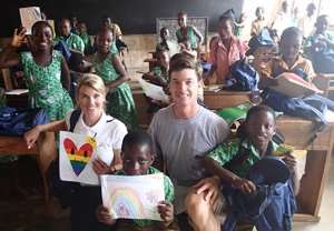 Courtenay and Brad Fields with some of the pupils