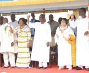 From left - Justice William Atuguba, Mrs Naadu Mills, President Mills, Rt. Hon. Joyce Bamford-Addo and Mr Henry Martey Newman at the thanksgivign service