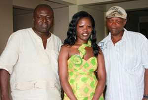 Miss Harey Umu (middle) president of the organisation in a pose with Sloopy Mike Gyemfi (left) and Nii Mantse