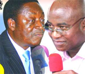 Dr. Kwabena Duffour, Finance Minster(left), Osei Kyei Mensah Bonsu, Minority Leader(right)