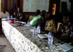 Leadership of the association at the high table during the press conference