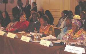 Mrs Rawlings (right) and First Lady Naadu Mills (2nd right) at the forum
