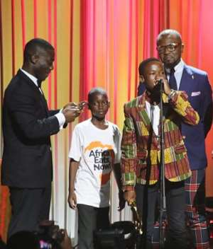 Child actor Abraham Attah on stage to receive one of the awards