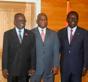 Hon Kan Dapaah, Minister for Defence poses with Liberian Minister for National Defence, Mr  Brownnie j. Samukai jr. (Middle) and Hon Addo kufuor, Minister for Interior (Right)