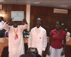 PPP Interim National Sec., Kofi Asamoah Siaw displaying the certificate from the EC.