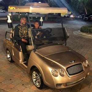 See my money: Mayweather buys gold Bentley golf cart for son's birthday