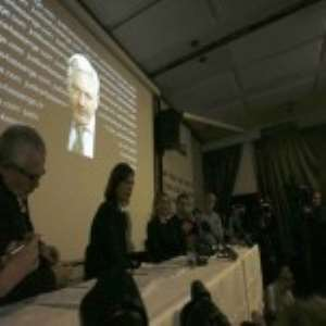 Mr Assange read a statement to the media via a video link