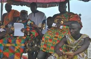 Nana Awuku Bram I presenting his speech and flanked by Aburimanhene Nana Otoobour Djan Kwesi I RIGHT and Tufuhene Okatakyie Ofosu Yeboah LEFT