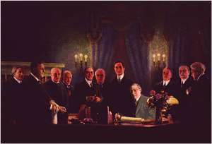 Courtesy of Woodrow Wilson Birthplace Foundation   Painting by Wilbur G. Kurtz, Sr. of President Wilson signing the Federal Reserve Act in 1913.