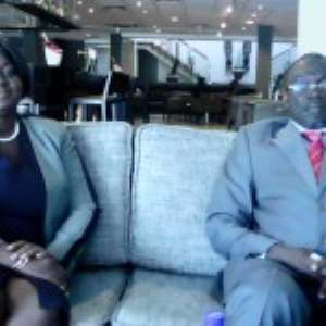 Prof. Douglas Boateng and Madam Aku Addo  seated during the interview