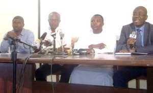 Nyantakyi, Sani Darra, FA spokesperson, Appiah and his right hand man Maxwell Konadu at the conference