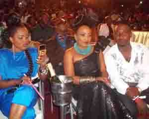 Diamond Appiah (middle) in a pose with Mzbel and a friend