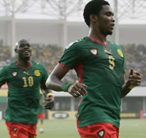 Samuel Eto'o in his favorite number 9 Cameroonian jersey
