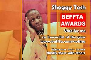 SHOGGY TOSH IS NOMINATED AS JOURNALIST OF THE YEAR AT THE 2012 BEFFTA AWARDS