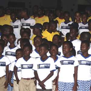50 children interact with Black Stars