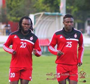 Sulley, right training with Yahaya Mohammed, is likely to rejoin Hearts of Oak