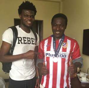 Atletico Madrid star Thomas Partey decorates dad with Champions League silver medal on Father's Day