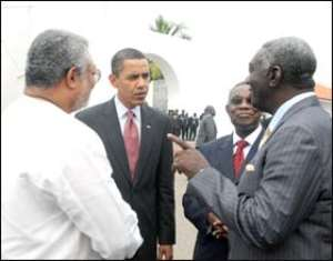 Kufuor making a point in a discussion with Prez Obama, Mills and Rawlings