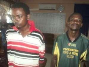Issifu Issah (R), 42, a Burkinabe and Fusseini Tanko (L), 24 from Niger