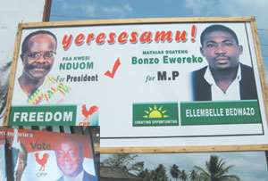 As election campaign reaches crescendoNduom receives major backing... locals vow to topple Elembelle Mugabe