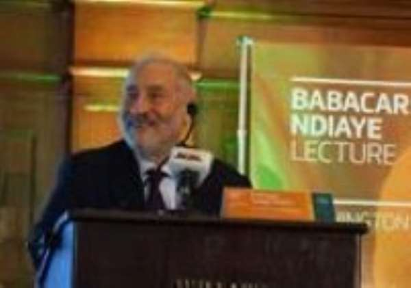 Nobel Laureate Joseph Stiglitz delivering the Inaugural Babacar Ndiaye Lecture in Washington D.C. today.