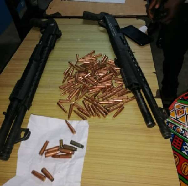 The two pump action guns and 100 rounds of live AK47 ammunition retrieved