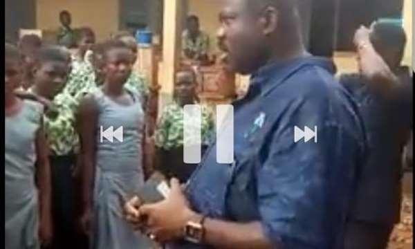 Joshua Akamba interacting with the Tempane SHS students