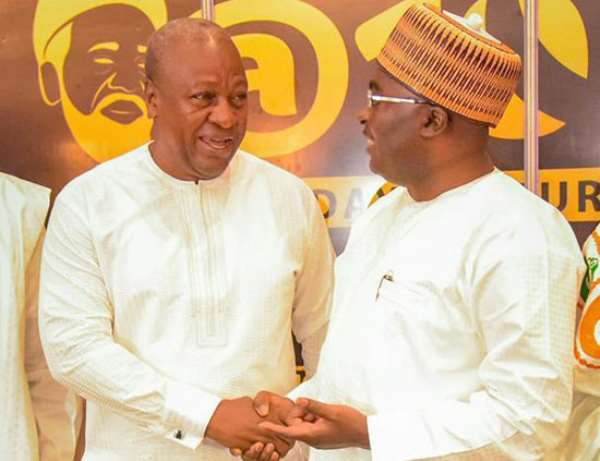 Vice President Dr. Mahamudu Bawumia (right) and John Mahama (left)