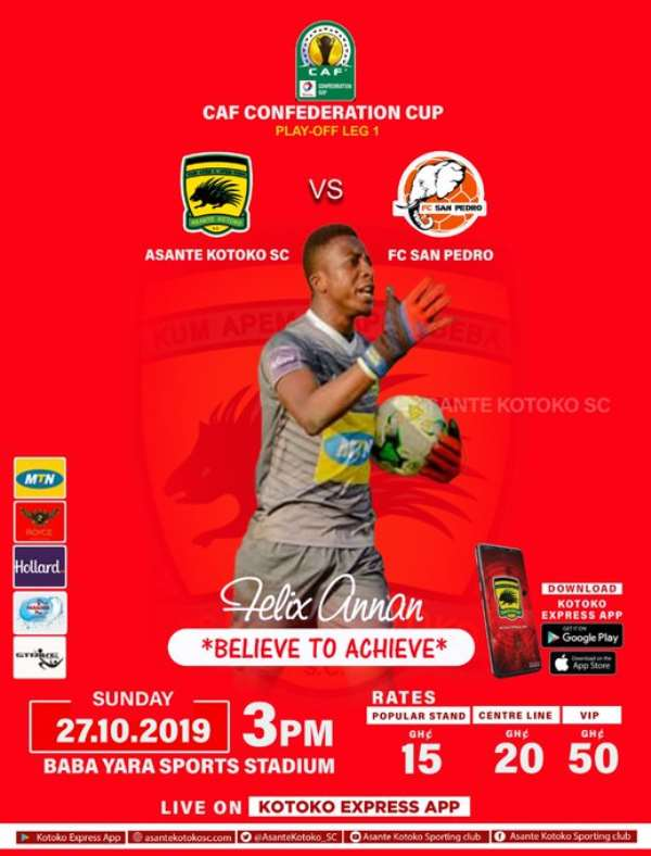 CAF Confederations Cup: Kotoko Reveal Ticket Prices For FC San Pedro Clash