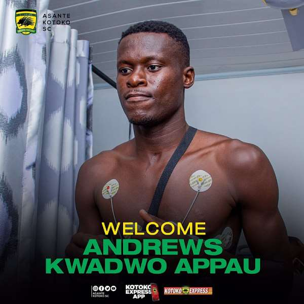 OFFICIAL: Asante Kotoko Sign Defender Appau Andrews On A 4-Year Deal