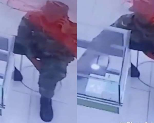 [Video] Soldier Caught On CCTV Stealing iPhone From A Phone Shop