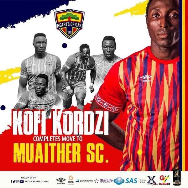 CONFIRMED: Striker Kofi Kordzi Joins Qatari Side Muaither SC From Hearts of Oak