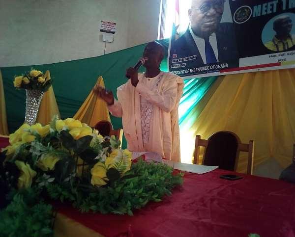 MCE for Berekum,Mr. Kofi Adjei responding to questions from the media