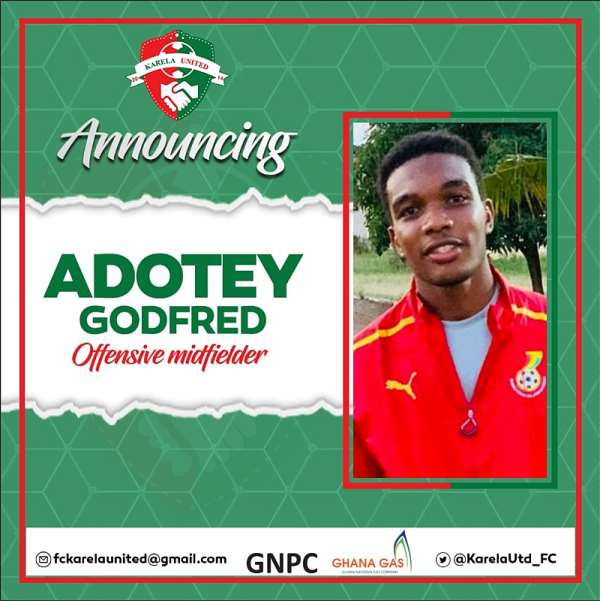 Karela United Bolster Squad With Signing Of Midfielder Godfred Adotey