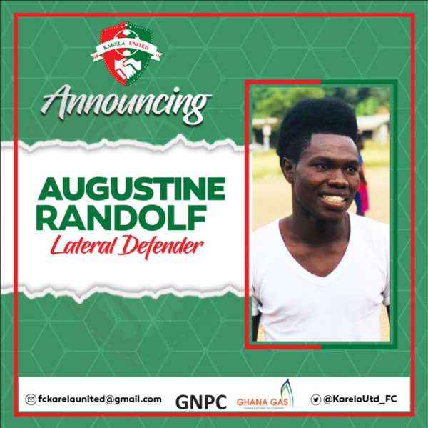 Karela United Sign Defender Augustine Randolf On A 3-Year Deal