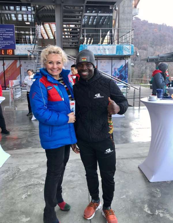 Akwasi Frimpong was invited to train in Sochi by Elena Anikina, President of the Russian Bobsleigh Federation ©RBF